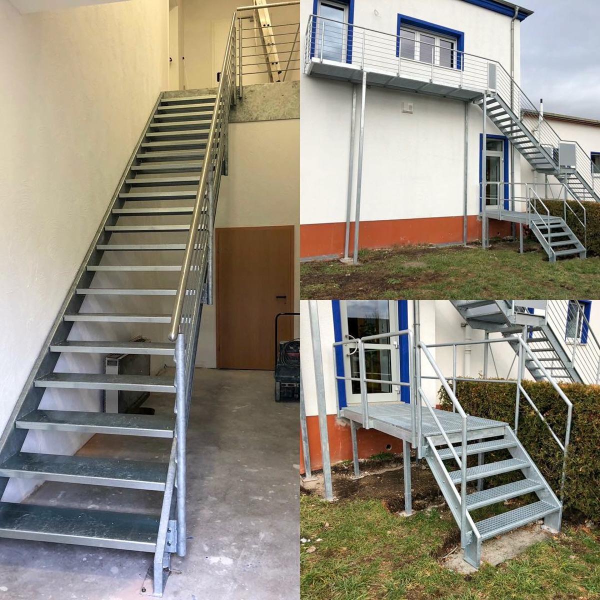 Metalltreppen Zweiwangentreppe gekanntete Stufen U-Profile PVC Belag Geländer Edelstahlhandlauf Rundstabfüllung